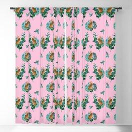 Tropical Leaf Clouded Leopard Pattern Pink BG Blackout Curtain