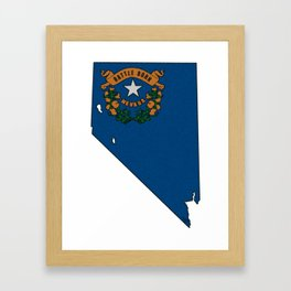 Nevada Map with State Flag Framed Art Print