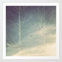 Birds Sky Trees Art Print