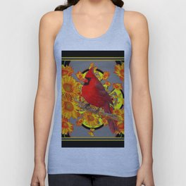 RED CARDINAL SUNFLOWERS ON GREY BLACK ART Unisex Tank Top