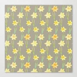 Yellow Watercolour Stemmed Daffodil Pattern Canvas Print