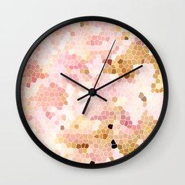 Flower Mosaic Millennial Pink and Golden Yellow Abstract Art | Honey Comb | Geometric Wall Clock