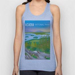 Acadia National Park, Maine - Skyline Illustration by Loose Petals Unisex Tank Top