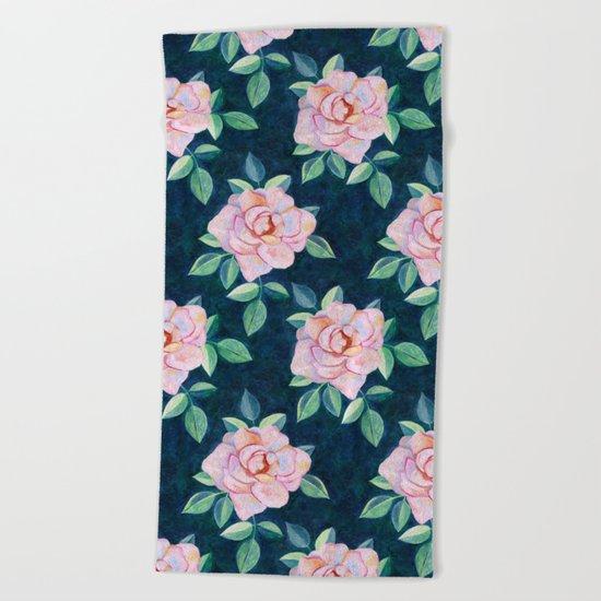 Simple Pink Rose Oil Painting Pattern Beach Towel