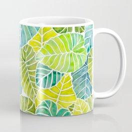 Tropical Leaves Alocasia Elephant Ear Plant Blue Green Coffee Mug