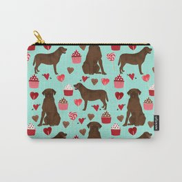 Chocolate Labrador Retriever valentines day cupcakes love hearts dog gifts labs Carry-All Pouch