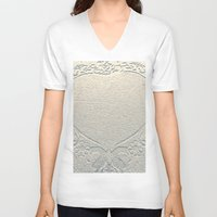 antique V-neck T-shirts featuring Antique Heart by Rose Etiennette
