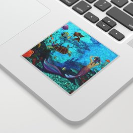 A Fish of a Different Color - Mermaid and seaturtle Sticker