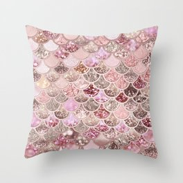 Rose Gold Blush Glitter Ombre Mermaid Scales Pattern Throw Pillow