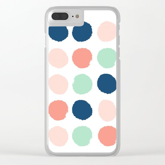Painted dots pattern minimal basic nursery decor home trends colorful art Clear iPhone Case
