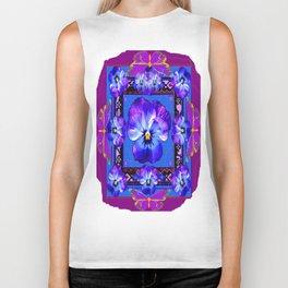 Purple Pansy & Butterflies Melody Abstract Biker Tank
