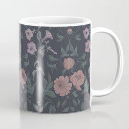 vintage peonies on a dark background Coffee Mug