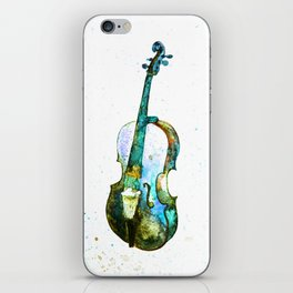 Blue cello, watercolor iPhone Skin