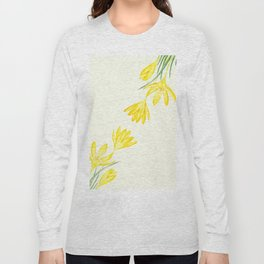 yellow botanical crocus watercolor Long Sleeve T-shirt