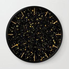 Glitter Stars3 - Gold Black Wall Clock