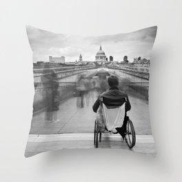 Invisible, Millennium Bridge, London Throw Pillow