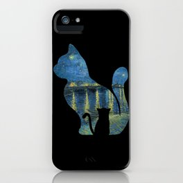 Cat Watching The Starry Night Over The Rhone - Van Gogh Painting iPhone Case