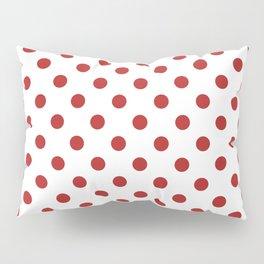Small Polka Dots - Firebrick Red on White Pillow Sham