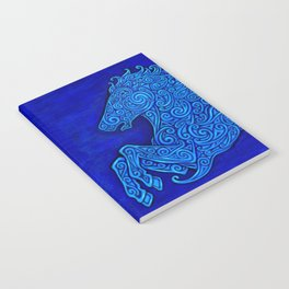 Blue Celtic Horse Abstract Spirals Notebook