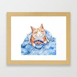 Happy Cat Drinking Hot Chocolate Framed Art Print