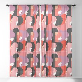 Together Girl Power - Pattern #girlpower Sheer Curtain