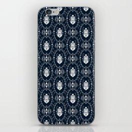 Dark grey damask pattern iPhone Skin