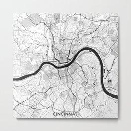 Cincinnati Map Gray Metal Print