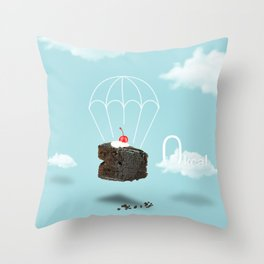 Isolated Chocolate cherry cake with parachute on blue sky background Throw Pillow