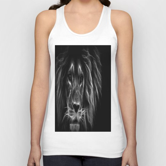 lion.  Black & White Unisex Tank Top