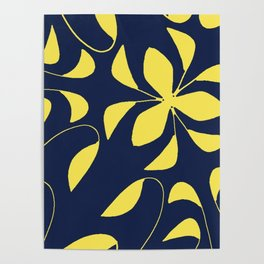Leafy Vines Yellow and Navy Blue Poster
