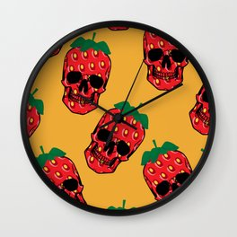 Skull Strawberries  Wall Clock