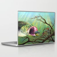 clueless Laptop & iPad Skins featuring Large Mouth Bass and Clueless Blue Gill Fish by Sonya ann