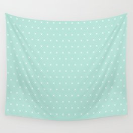 Aqua blue and White cross sign pattern Wall Tapestry