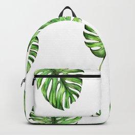 Monstera green leaves Backpack