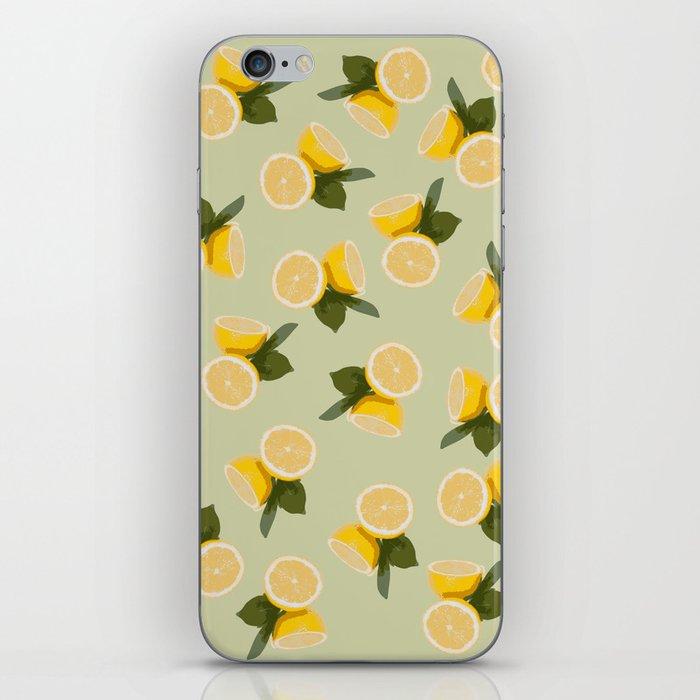 Yellow Citrus Lemon Fruit on Pale Lime Green iPhone Skin
