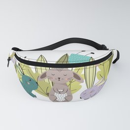 Sweet rabbits between flowers Fanny Pack