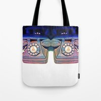 telephone Tote Bags featuring Telephone by Parastar Arts