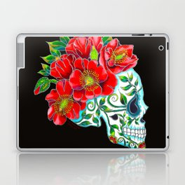Sugar Skull with Red Poppies Laptop & iPad Skin
