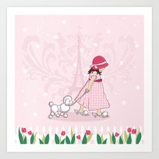 Paris Girl & Poodle Eiffle Tower Art Print