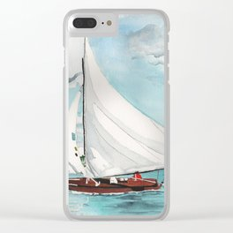 Sail Away watercolor painting of sailboat on turquoise waters Clear iPhone Case