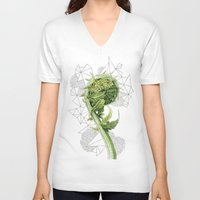 fern V-neck T-shirts featuring Fern by Line Holtegaard