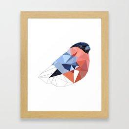 Geometric  bullfinch burd art Pink gray Framed Art Print