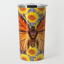 BABY BLUE COLOR ORANGE MONARCH BUTTERFLY ART Travel Mug