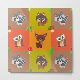 Forest Animals Pattern Metal Print