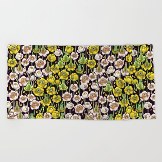 waterlily pattern Beach Towel