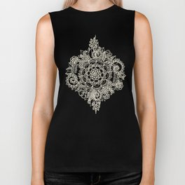 Cream Floral Moroccan Pattern on Deep Indigo Ink Biker Tank