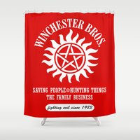 sam winchester Shower Curtains featuring SUPERNATURAL WINCHESTER BROTHERS DEAN AND SAM by thischarmingfan