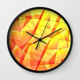 Bright contrasting fragments of crystals on irregularly shaped yellow and orange triangles. Wall Clock