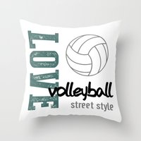 volleyball Throw Pillows featuring Love Volleyball Street Style by raineon
