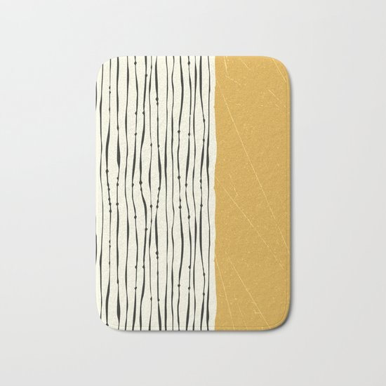 Gold Zebra Stripes Bath Mat